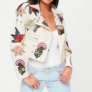 Missguided embroidered faux leather jacket
